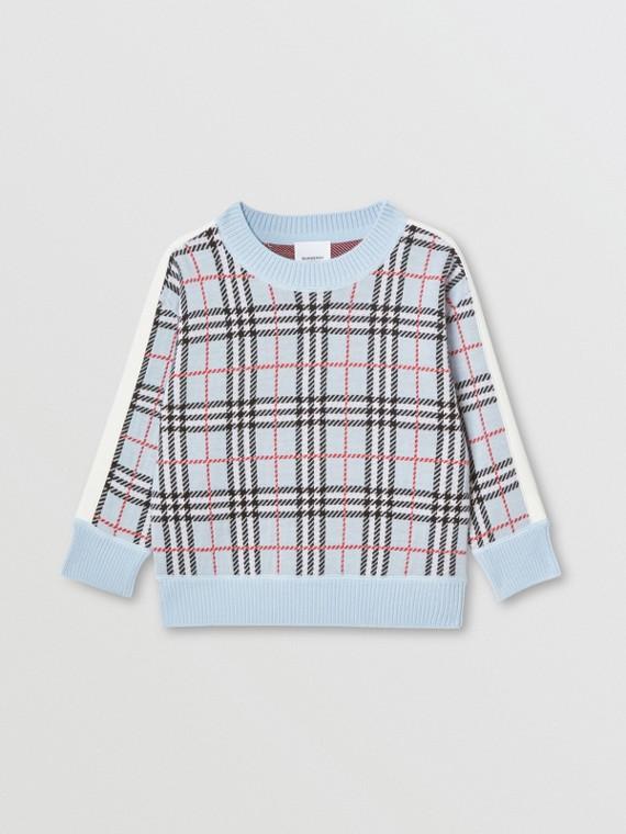 Jersey en lana de merino con motivo a cuadros en jacquard (Azul Pálido)