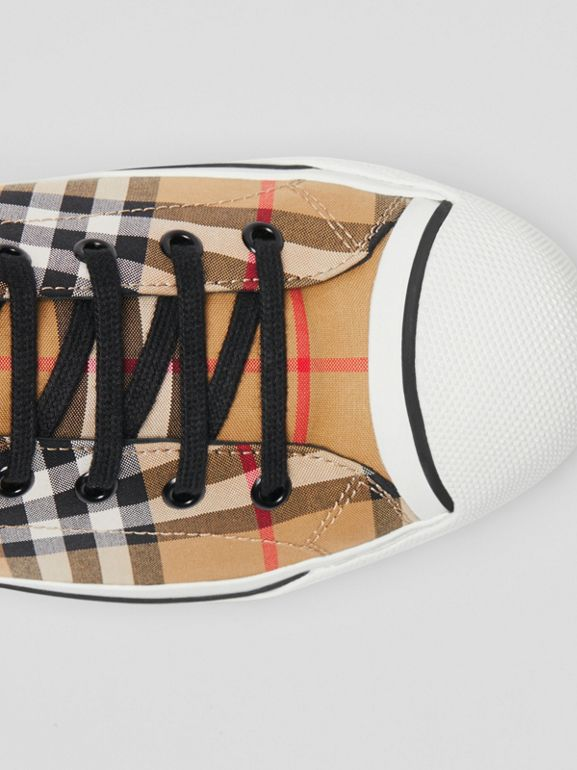 Vintage Check High-top Sneakers in Antique Yellow - Men | Burberry - cell image 1