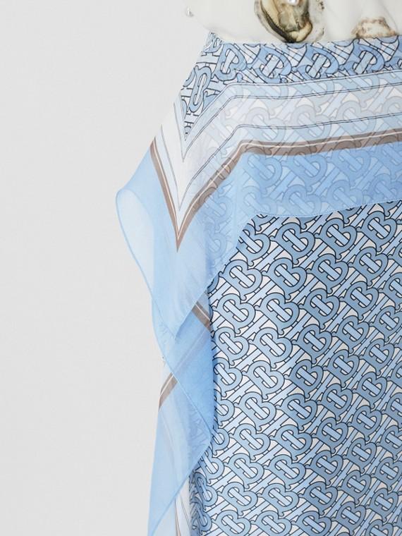 Jupe crayon en soie Monogram avec foulard (Baby Blue)