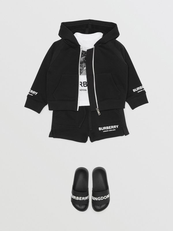 Logo Print Cotton Drawcord Shorts in Black - Children | Burberry Australia - cell image 3