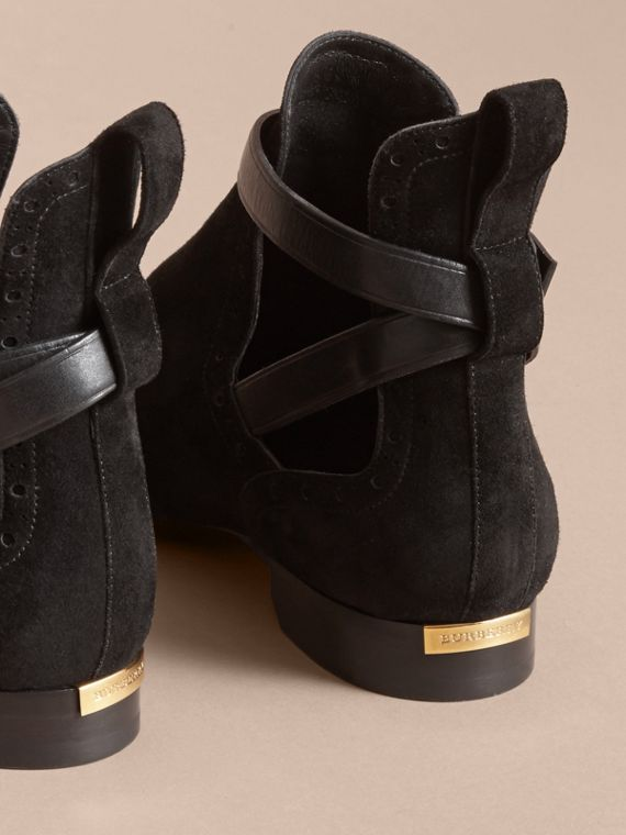 Cut-out Detail Suede Ankle Boots in Black - Women | Burberry - cell image 3