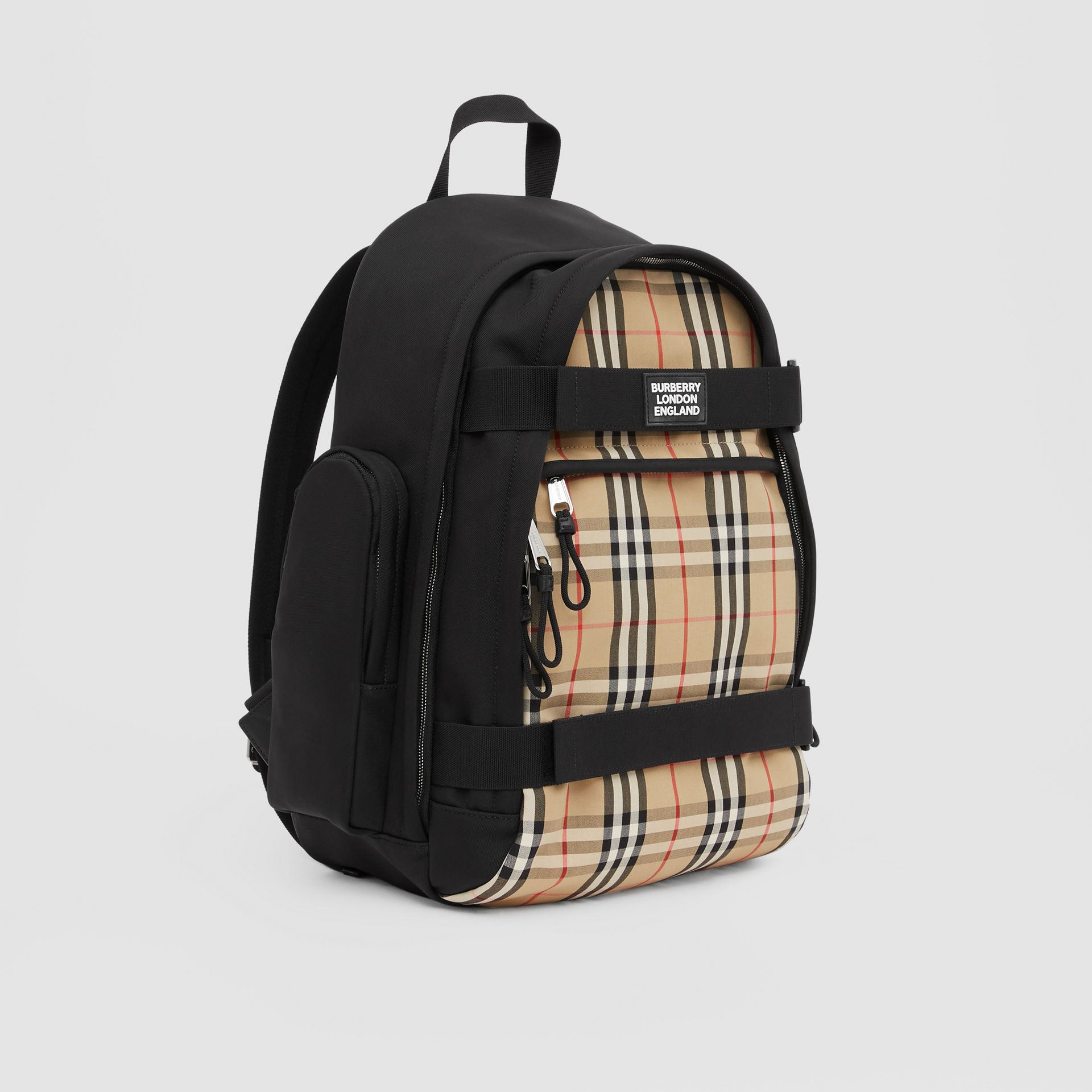 Large Vintage Check Panel Nevis Backpack in Archive Beige | Burberry Canada - gallery image 8