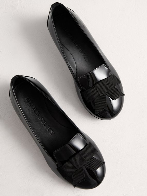 Bow Detail Patent Leather Ballerinas in Black - Girl | Burberry - cell image 3