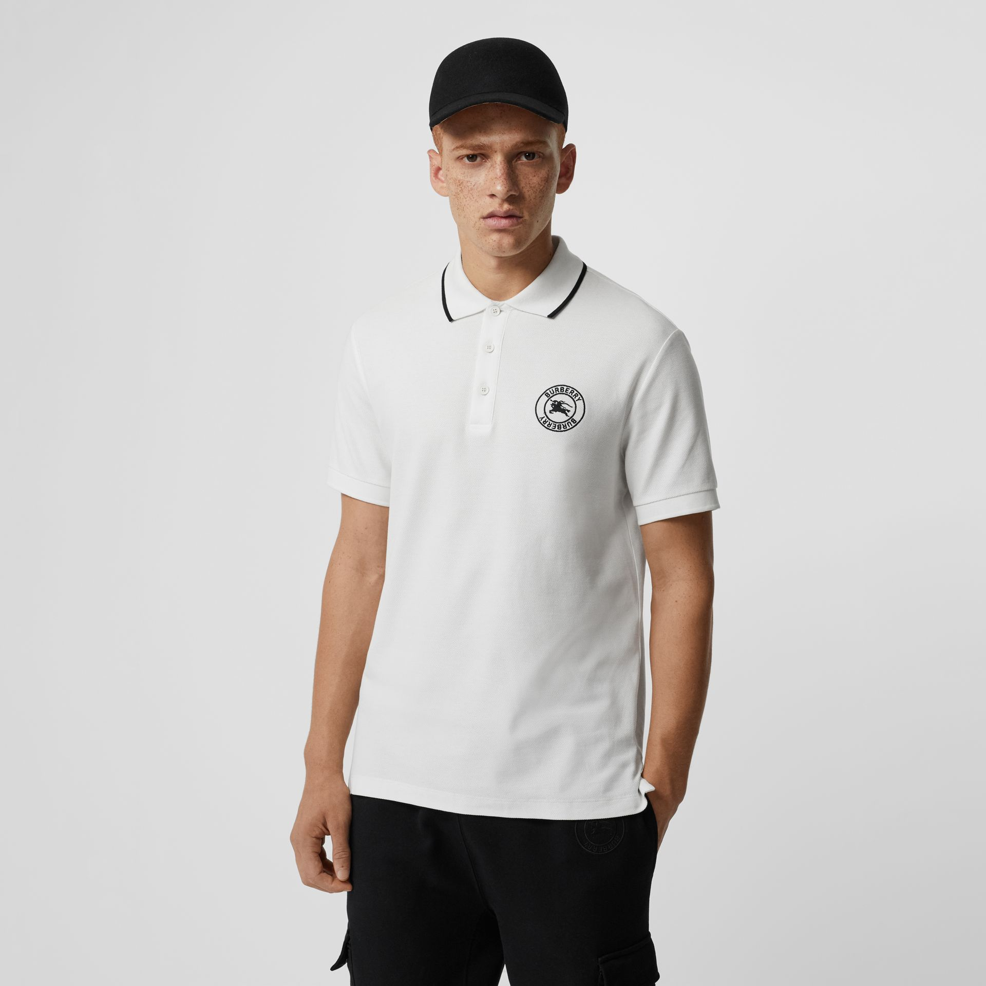 Embroidered Logo Cotton Piqué Polo Shirt in White - Men | Burberry - gallery image 0