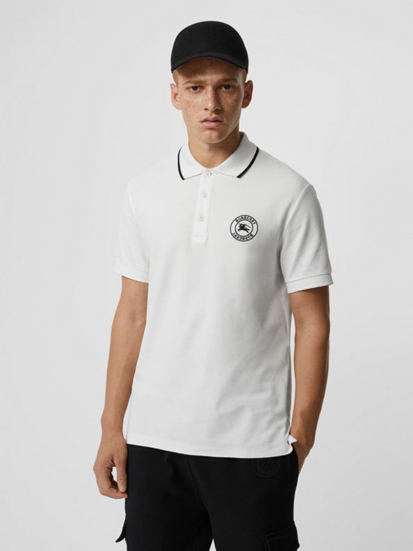 Embroidered Logo Cotton Piqué Polo Shirt in White