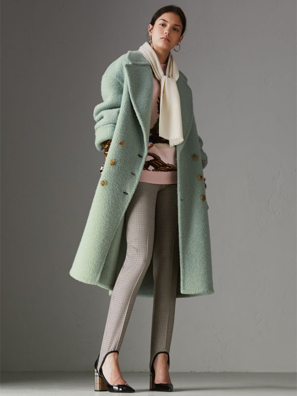 Embroidered Felted Wool Scarf in Ivory | Burberry - cell image 2