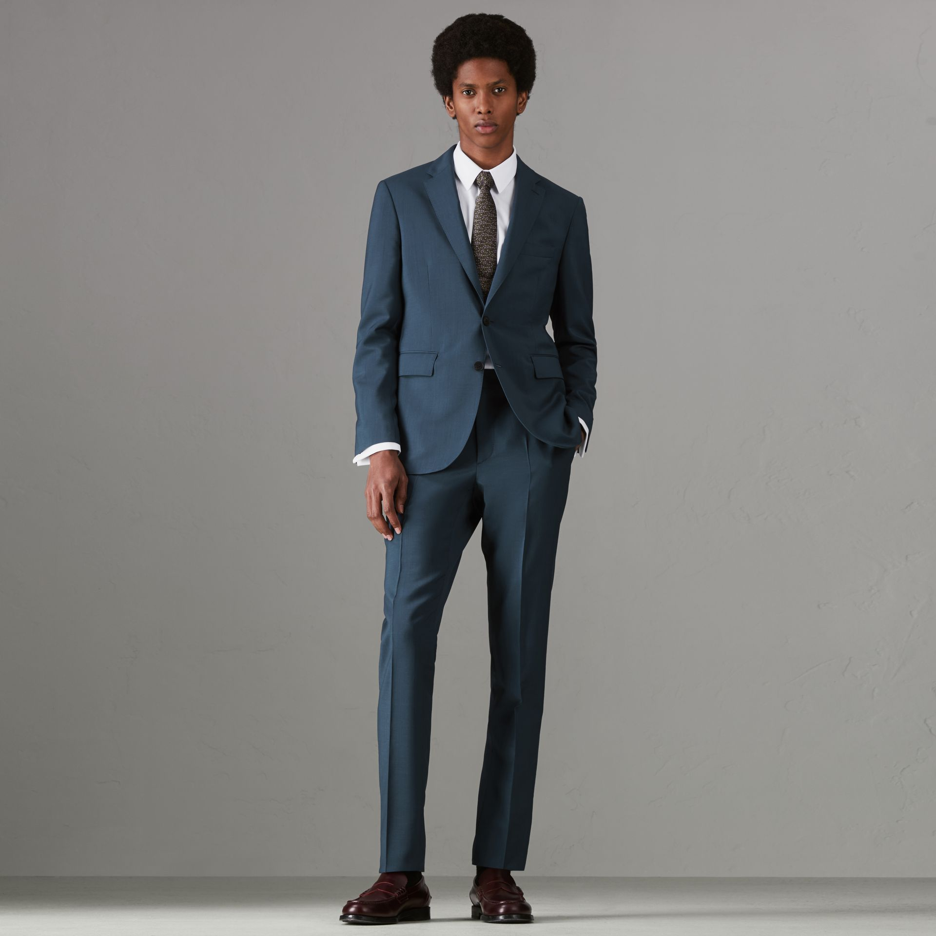 Soho Fit Wool Mohair Suit in Dark Pewter Blue - Men | Burberry - gallery image 0
