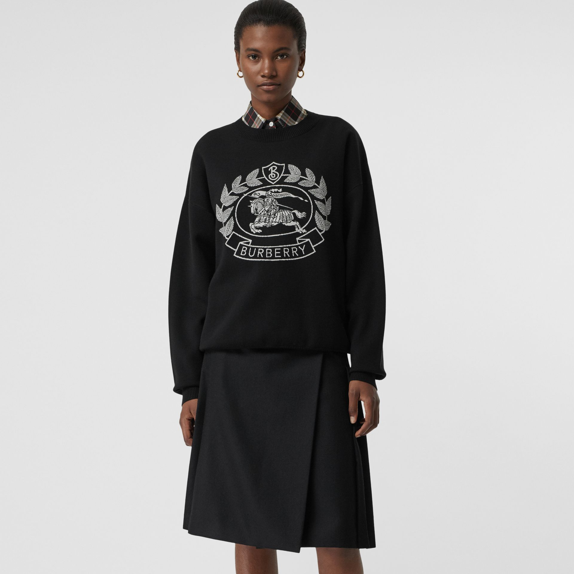 Crest Merino Wool Blend Jacquard Sweater in Black - Women | Burberry - gallery image 4