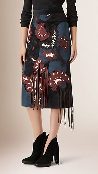 Suede Pencil Skirt with Fringing