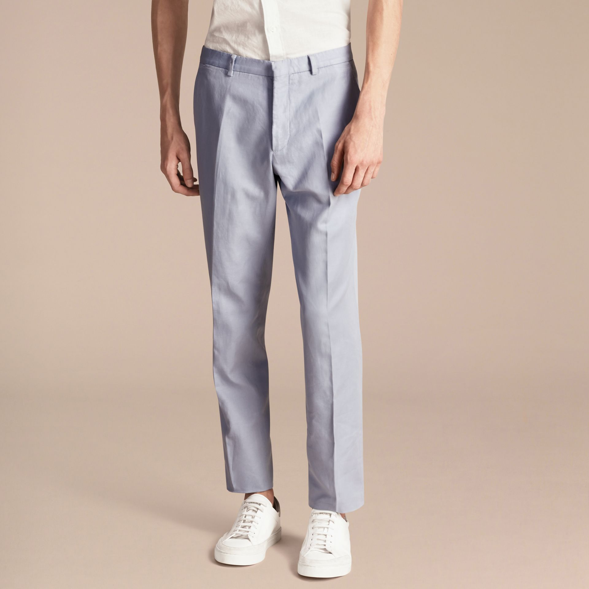 Slim Fit Cotton and Linen Trousers - gallery image 4