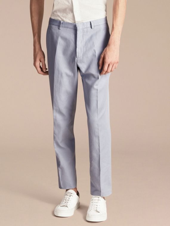 Slim Fit Cotton and Linen Trousers