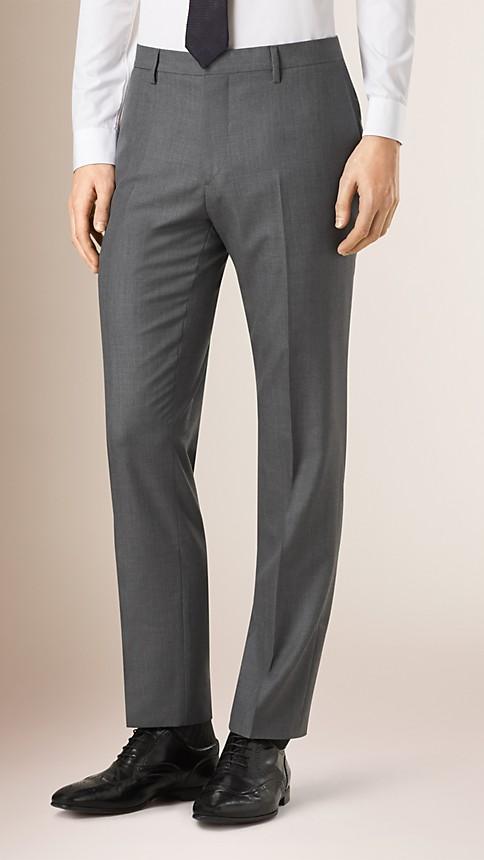 Mid grey melange Classic Fit Wool Part-canvas Suit - Image 5