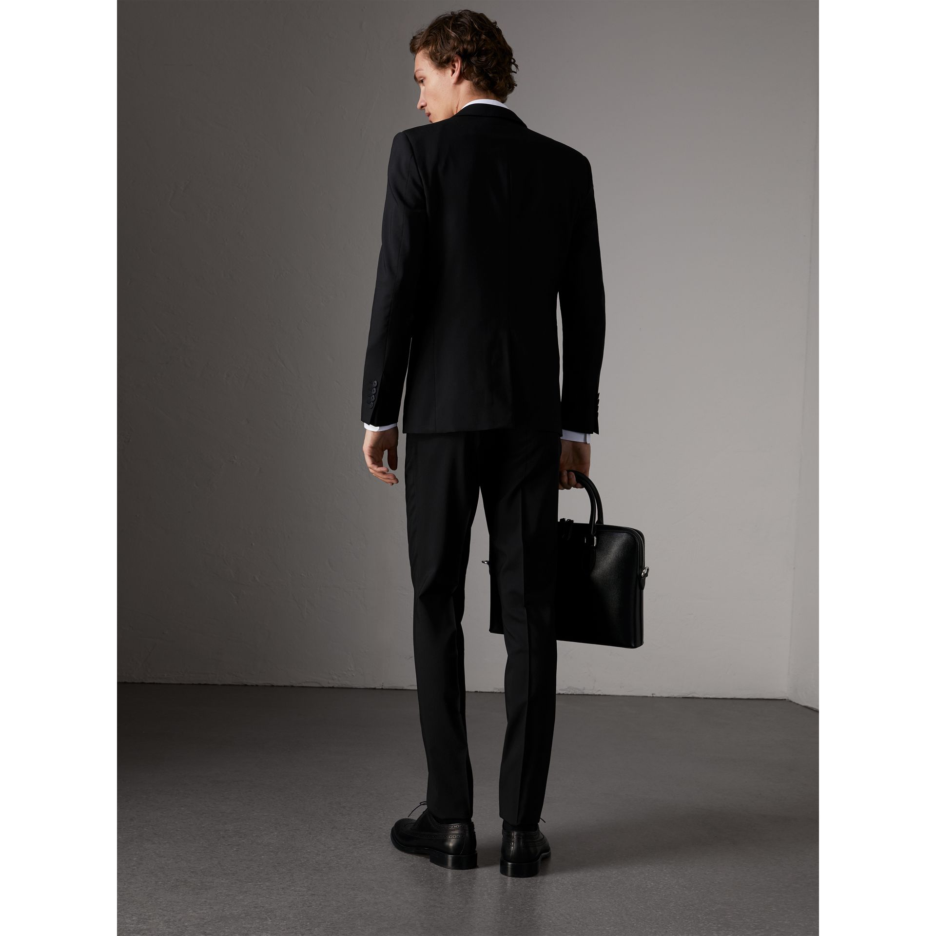Slim Fit Wool Suit in Black - Men | Burberry Singapore - gallery image 2