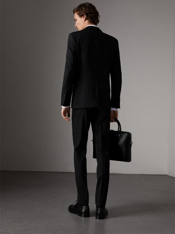 Slim Fit Wool Suit in Black - Men | Burberry United Kingdom - cell image 2
