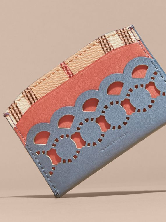 Laser-cut Leather and Haymarket Check Card Case in Slate Blue - Women | Burberry - cell image 3