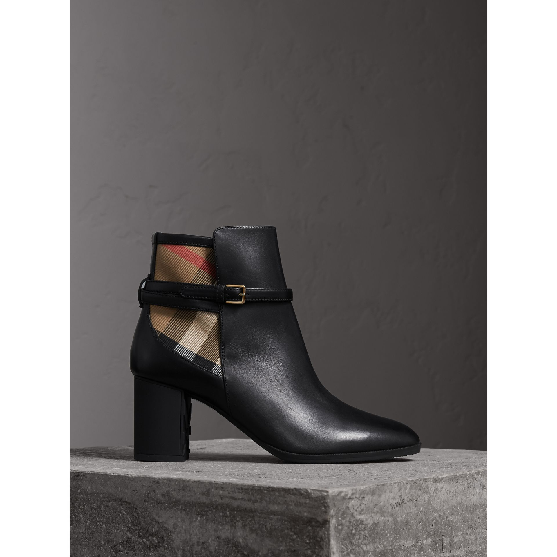 House Check and Leather Ankle Boots in Black - Women | Burberry Canada - gallery image 0