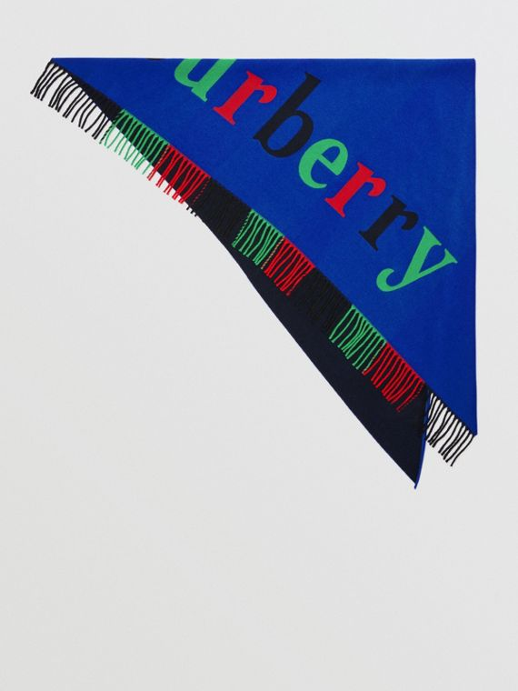 The Burberry Bandana in lana e cashmere con logo (Navy)