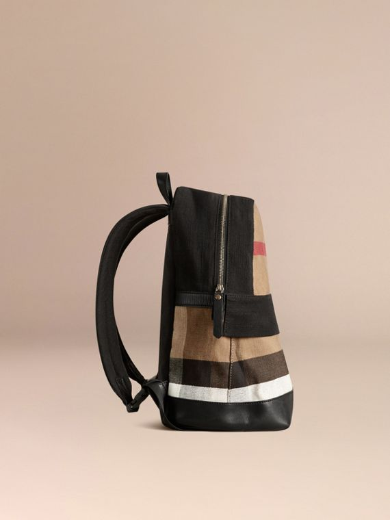 Canvas Check and Leather Backpack | Burberry - cell image 3