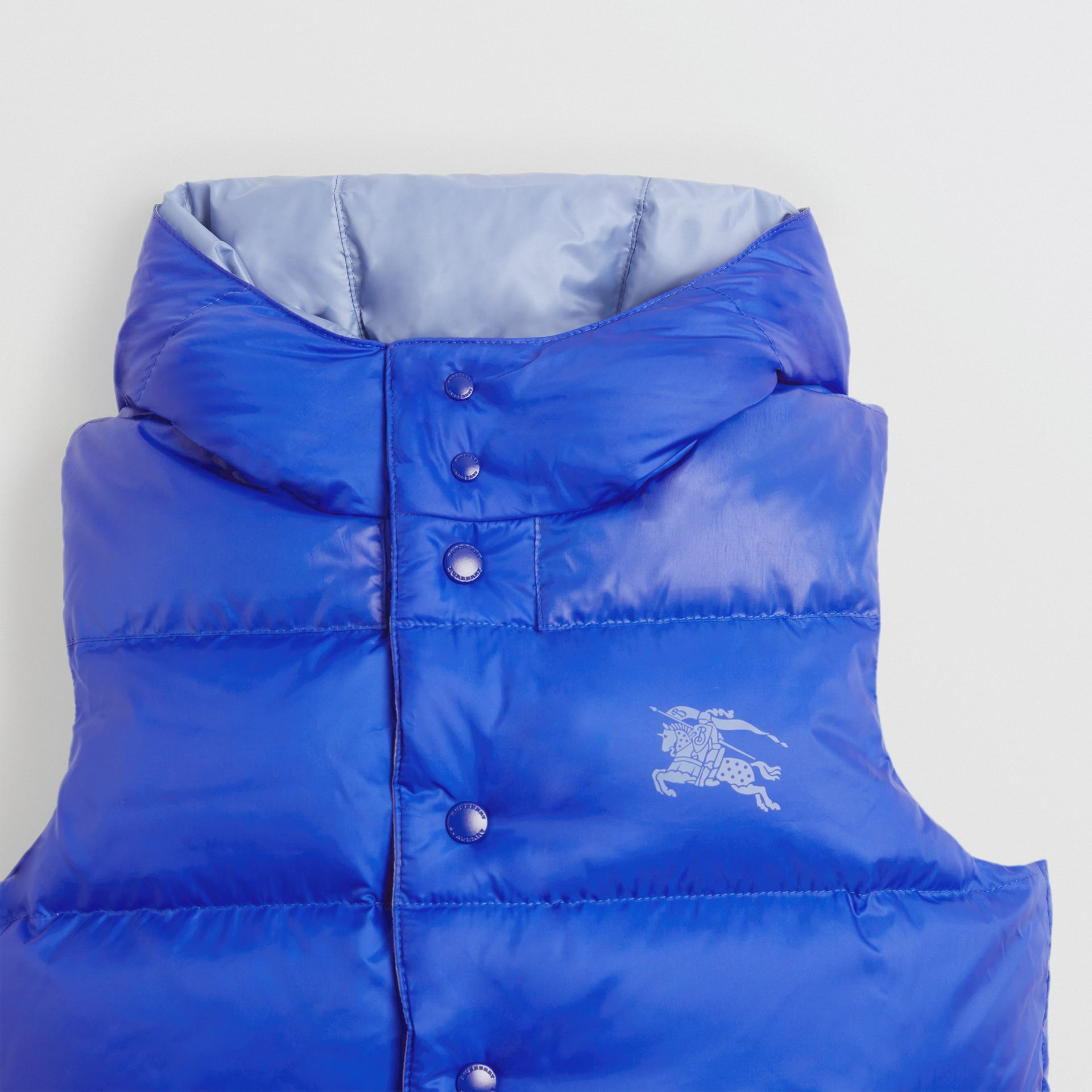 Reversible Showerproof Down-filled Hooded Gilet in Bright Spectrum Blue | Burberry - gallery image 5