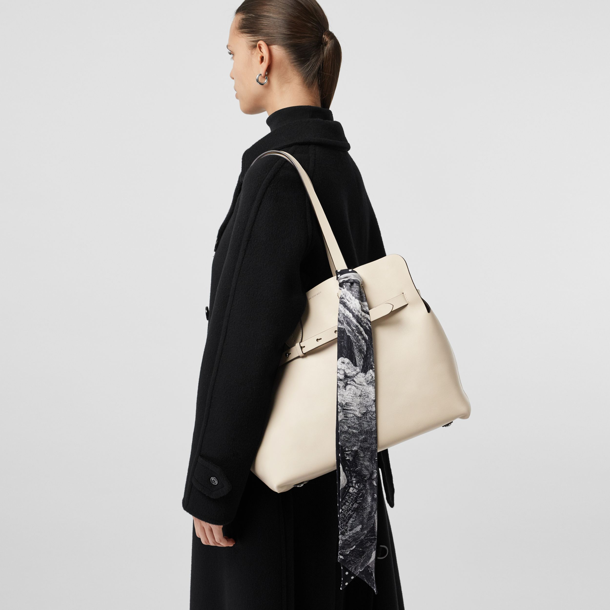The Medium Soft Leather Belt Bag in Limestone - Women | Burberry - 4