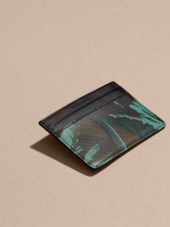 Floral Print London Check Card Case in Chocolate - Men | Burberry - cell image 2