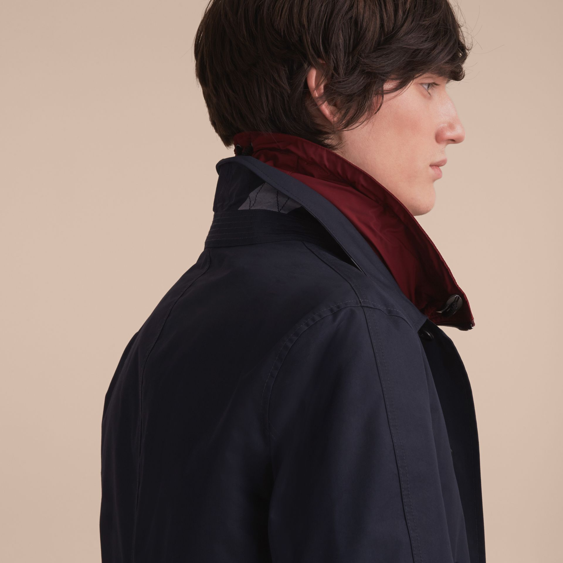 Lightweight Cotton Car Coat with Detachable Gilet Navy - gallery image 6