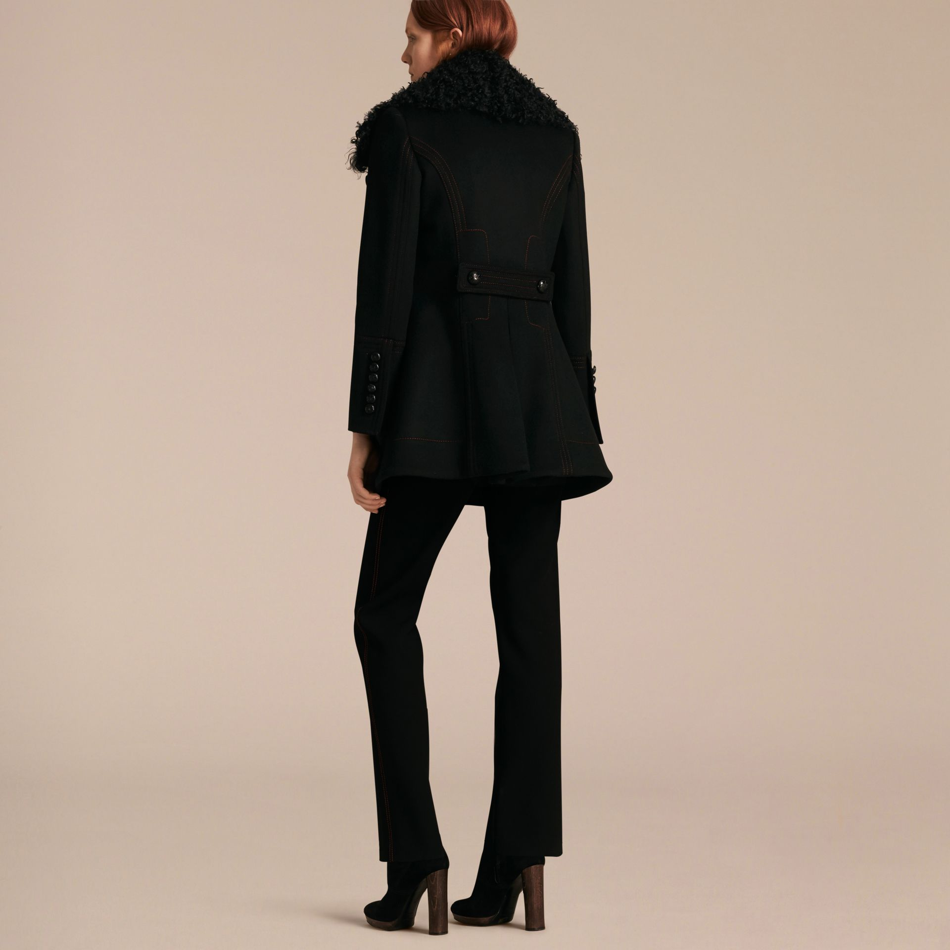 Black Shearling Collar Wool Pea Coat - gallery image 3