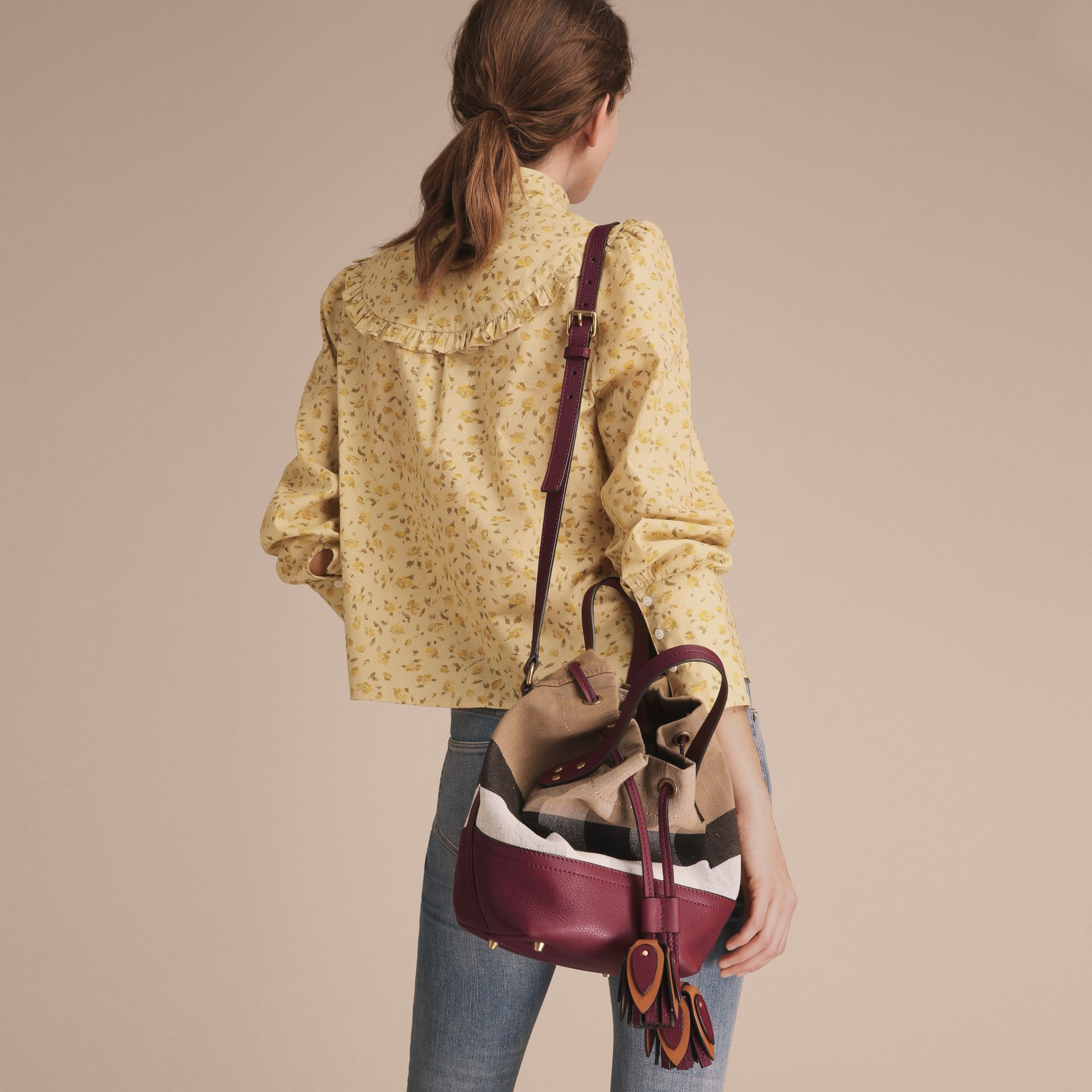 Small Canvas Check and Leather Bucket Bag in Burgundy Red - Women | Burberry Singapore - gallery image 4