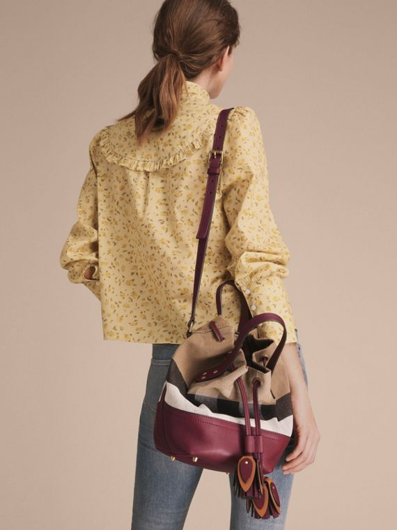 Small Canvas Check and Leather Bucket Bag in Burgundy Red - Women | Burberry - cell image 3