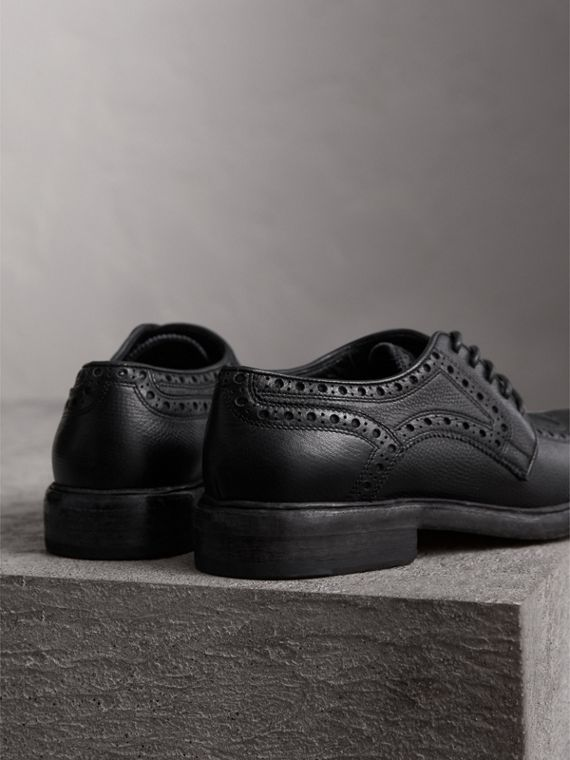 Lace-up Brogue Detail Textured Leather Asymmetric Shoes in Black - Women | Burberry United Kingdom - cell image 3