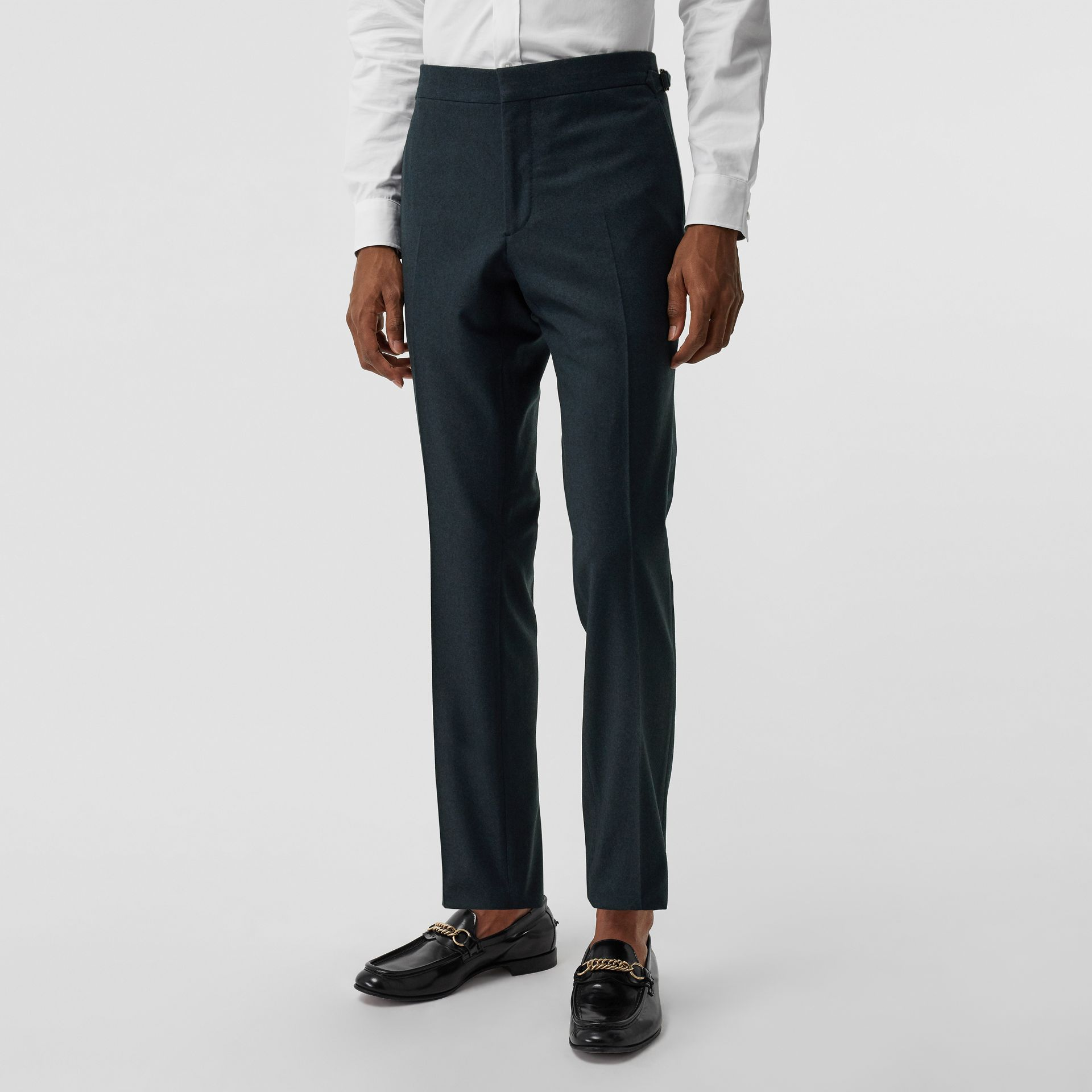 Classic Fit Wool Cashmere Tailored Trousers in Blue - Men | Burberry - gallery image 3