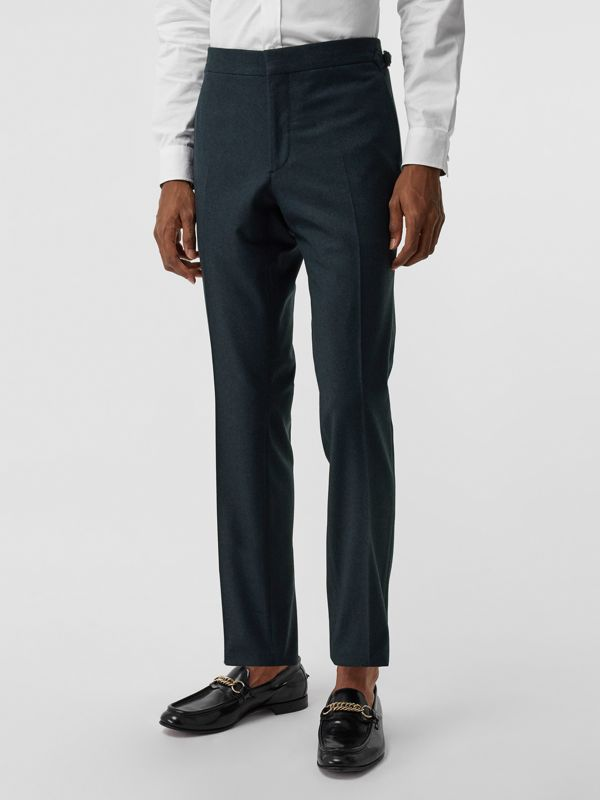 Classic Fit Wool Cashmere Tailored Trousers in Blue - Men | Burberry Australia - cell image 3
