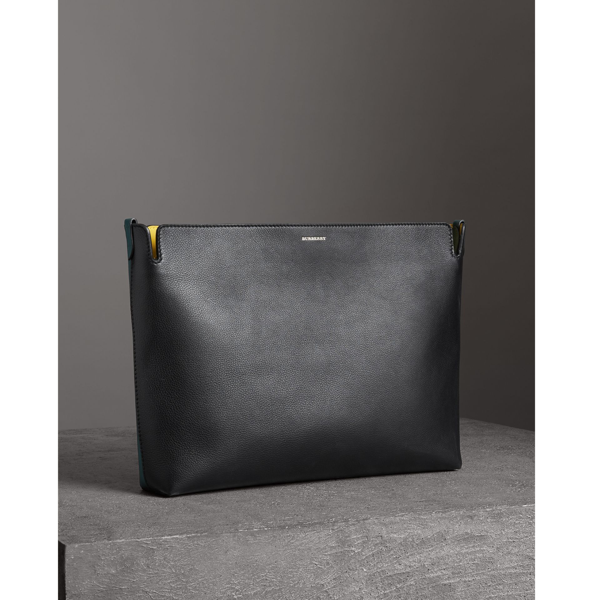 Large Tri-tone Leather Clutch in Black/sea Green | Burberry - gallery image 6