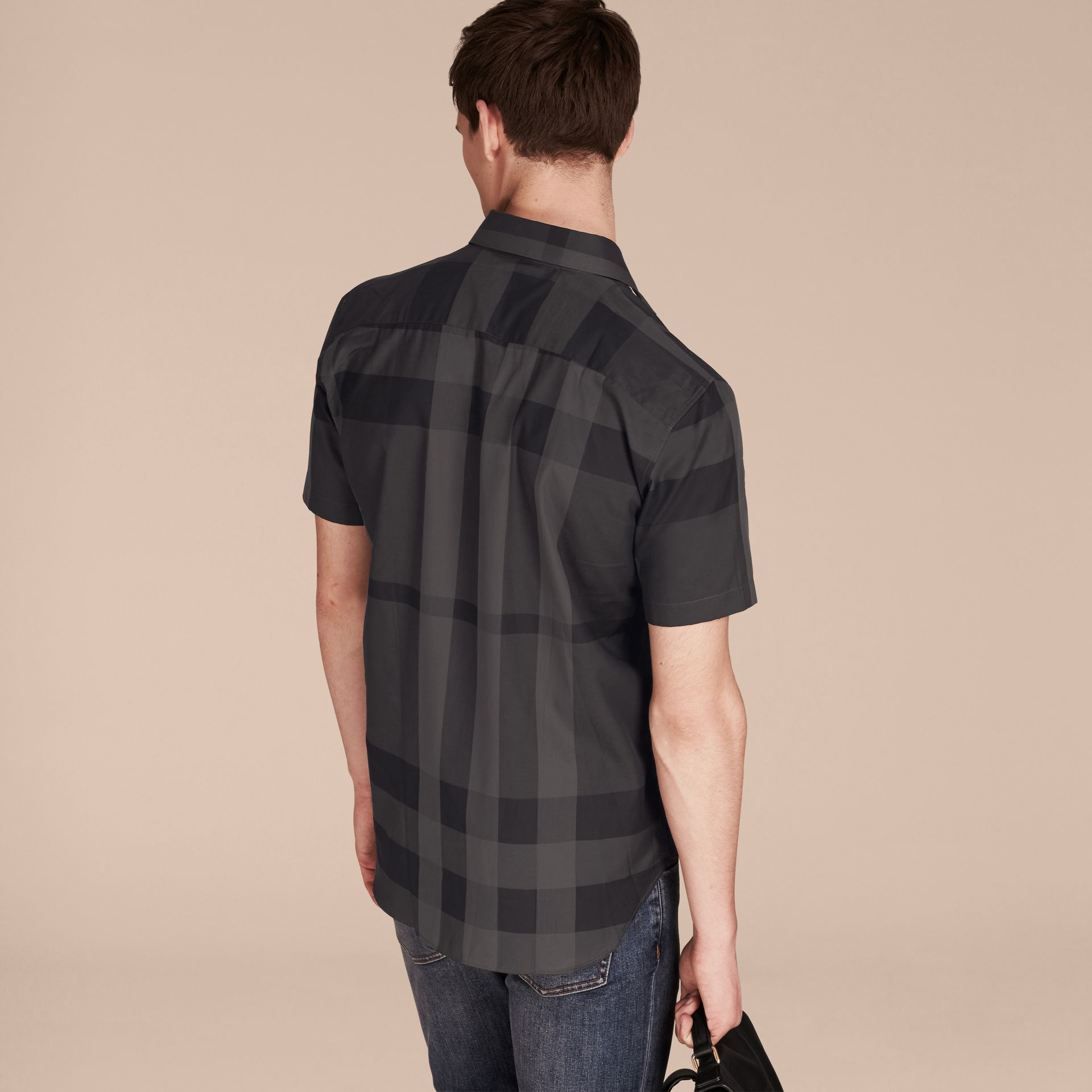 Charcoal Short-sleeved Check Cotton Shirt Charcoal - gallery image 3