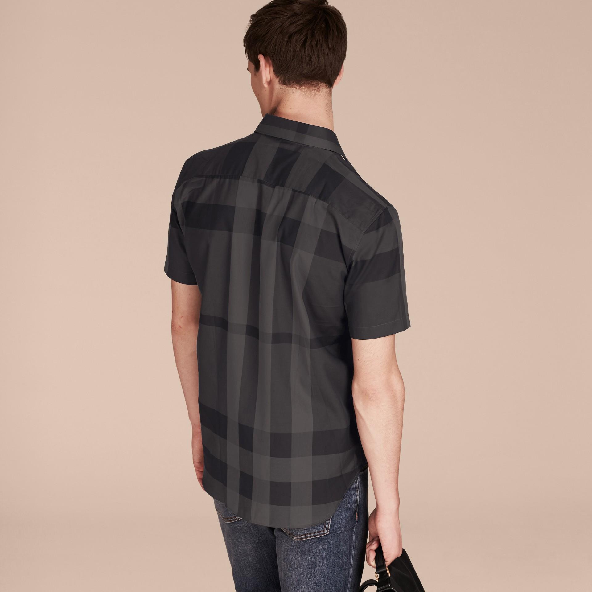 Gris marengo Camisa de manga corta en algodón con estampado de checks Gris Marengo - imagen de la galería 3