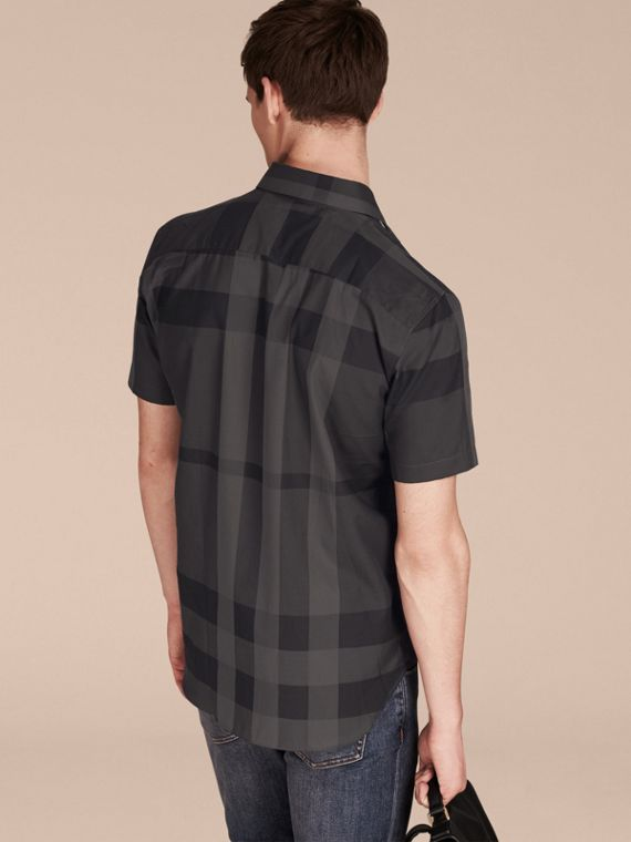 Charcoal Short-sleeved Check Cotton Shirt Charcoal - cell image 2