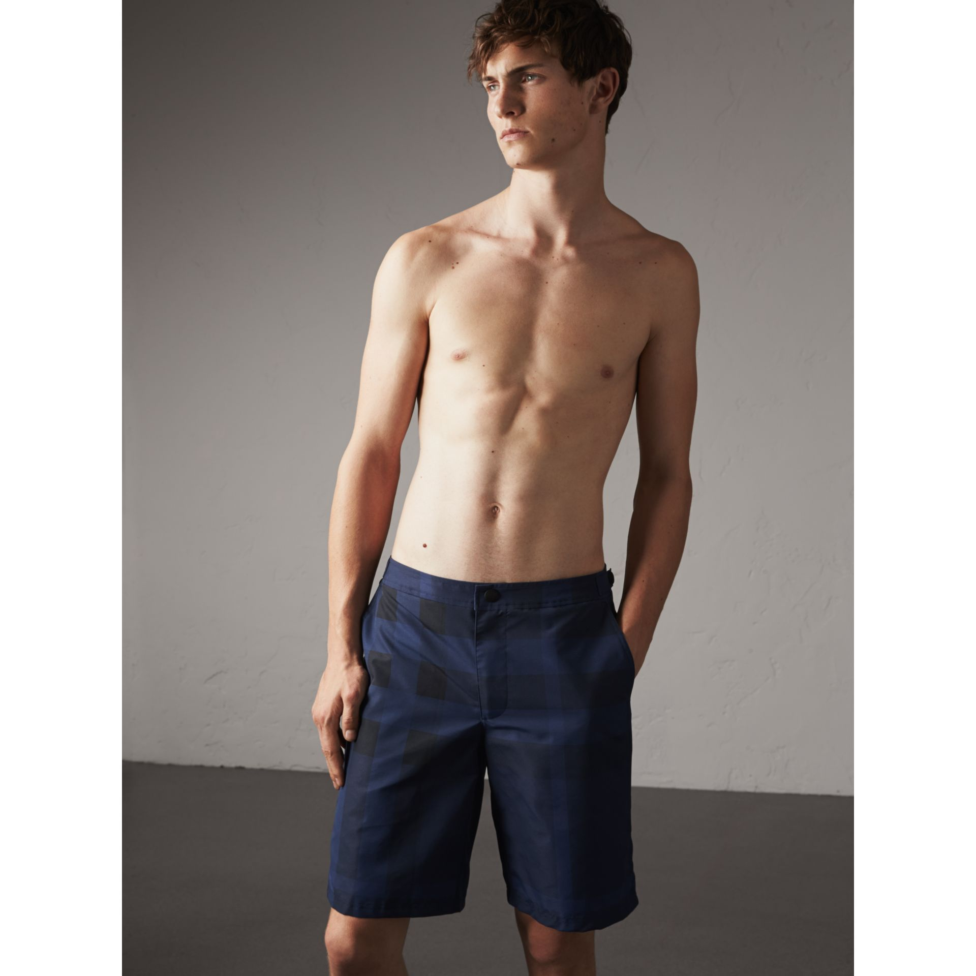 Tailored Check Technical Swim Shorts in Dark Navy - Men | Burberry Canada - gallery image 1