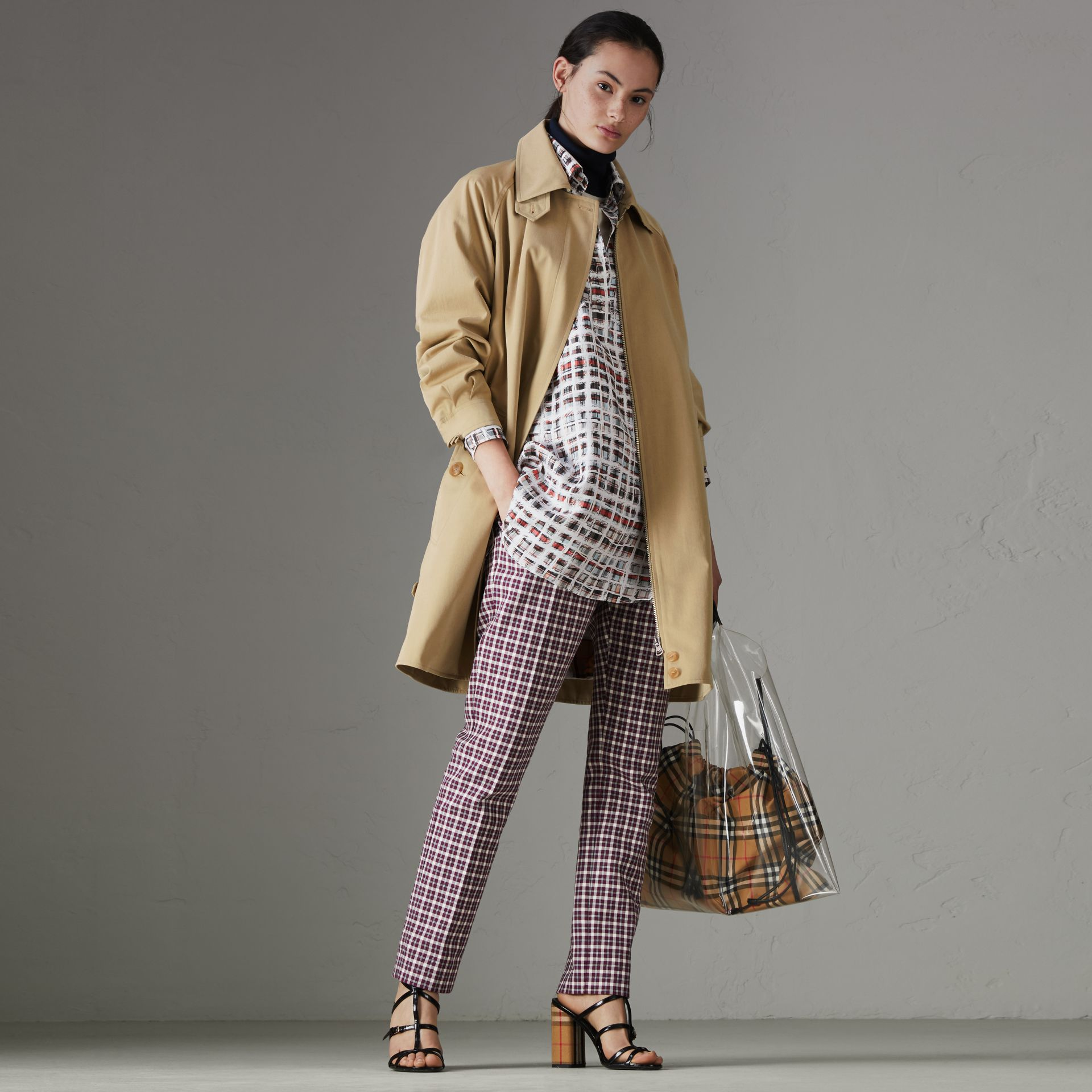 Tropical Gabardine Car Coat in Oatmeal - Women | Burberry United States - gallery image 0