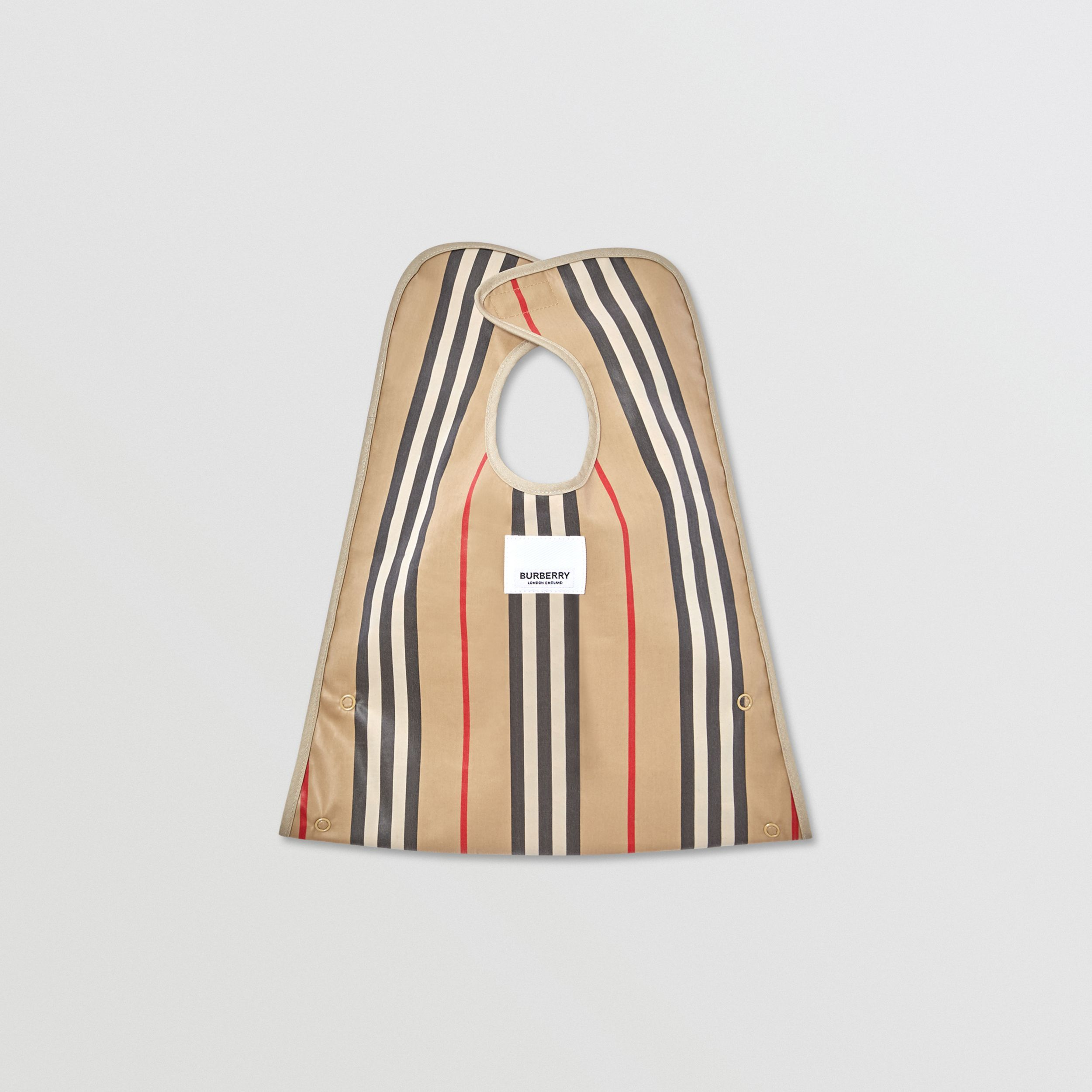 Coated Vintage Check and Icon Stripe Bib in Archive Beige - Children | Burberry - 3