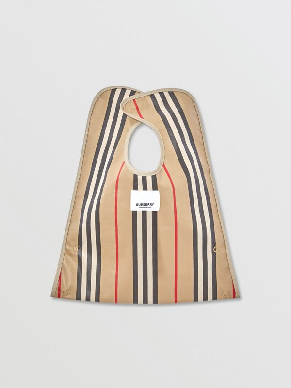 Coated Vintage Check and Icon Stripe Bib in Archive Beige - Children | Burberry United Kingdom - cell image 2