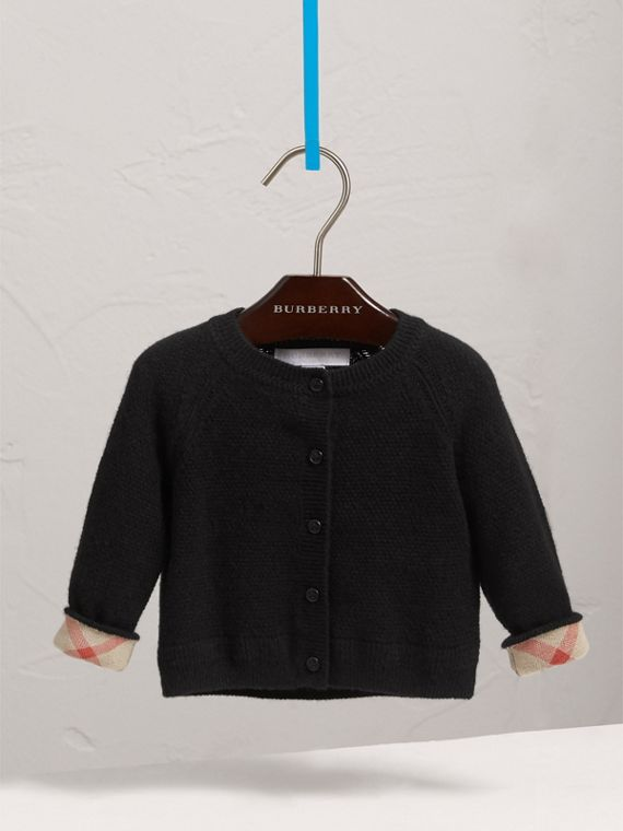 Check Detail Cashmere Cardigan in Black