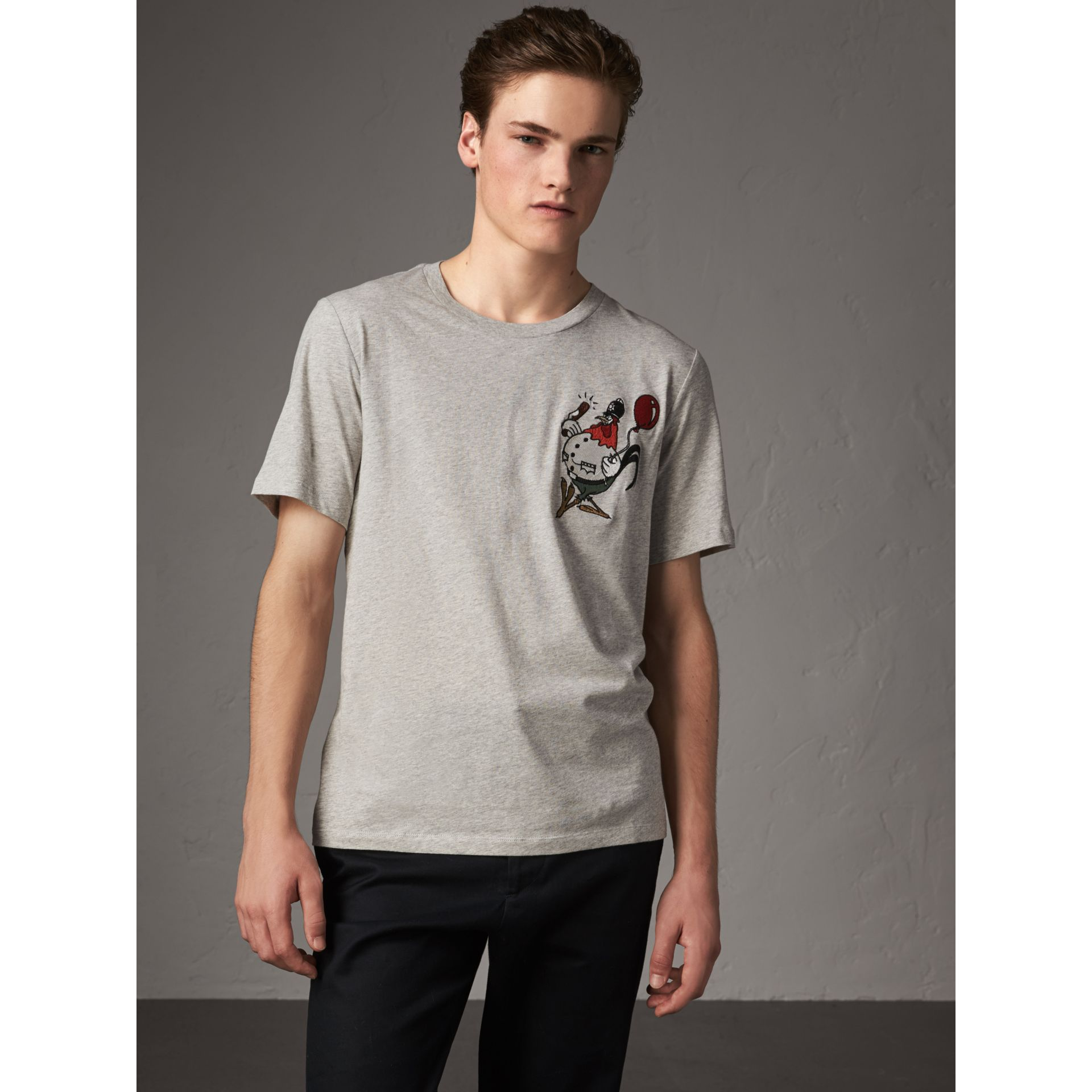 Sketch Appliqué Cotton T-shirt in Pale Grey Melange - Men | Burberry United Kingdom - gallery image 1