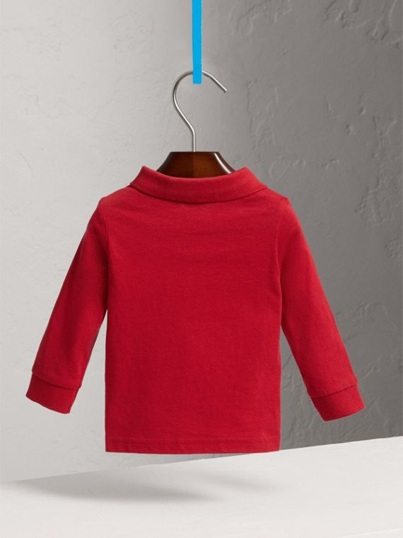 格紋飾邊長袖棉質 Polo 衫 (軍紅) | Burberry - cell image 3
