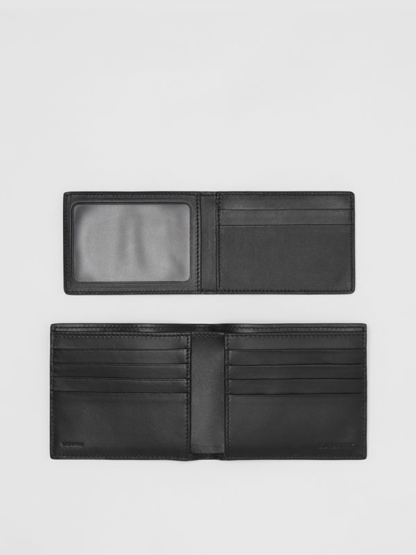 Monogram Leather Bifold Wallet with ID Card Case in Black - Men | Burberry Australia - cell image 3