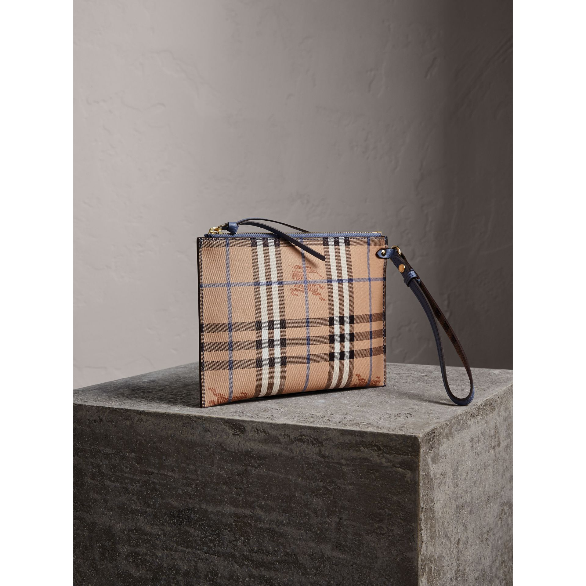 Haymarket Check Leather Pouch in Slate Blue - Women | Burberry Australia - gallery image 1