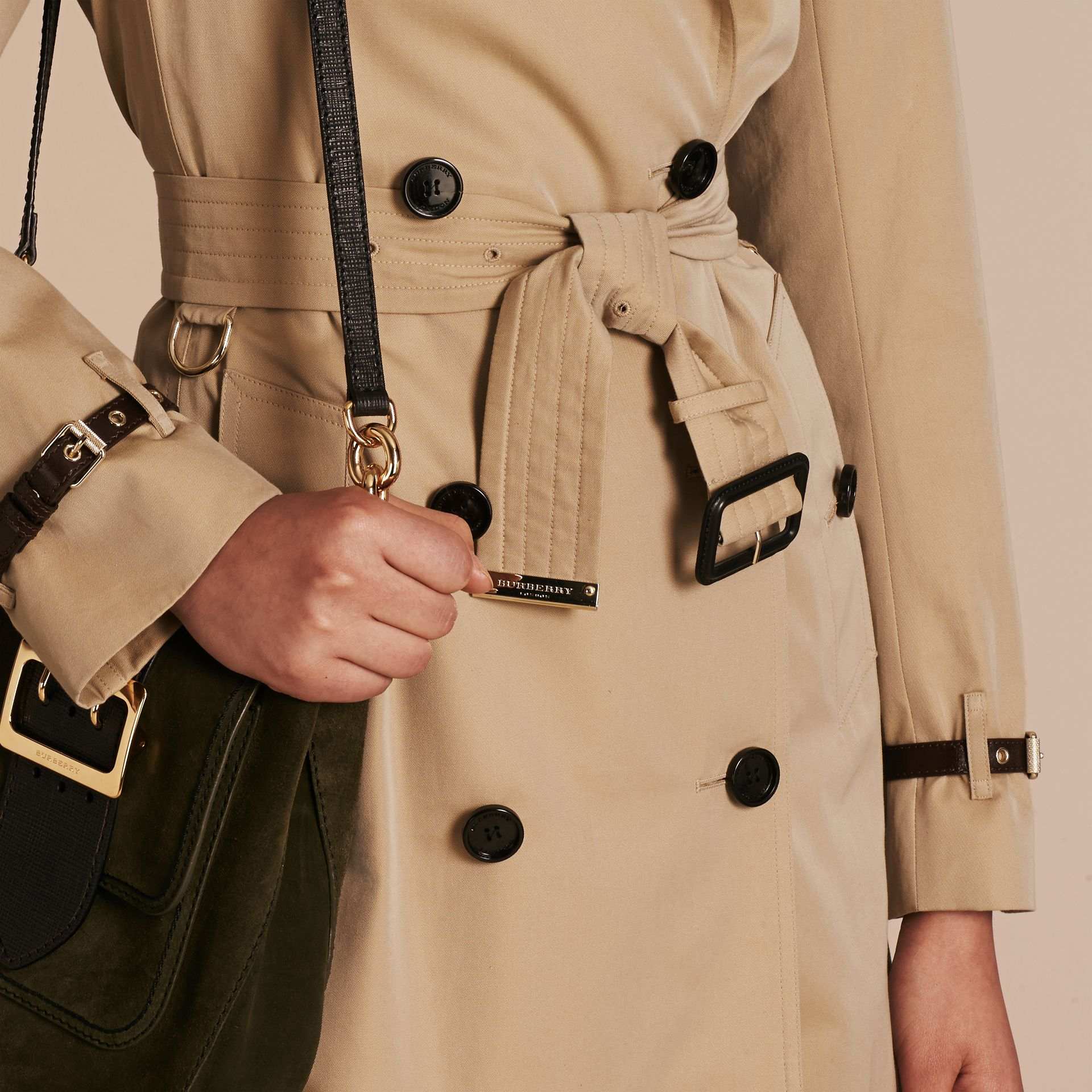 Honey Leather Detail Cotton Gabardine Trench Coat Honey - gallery image 6