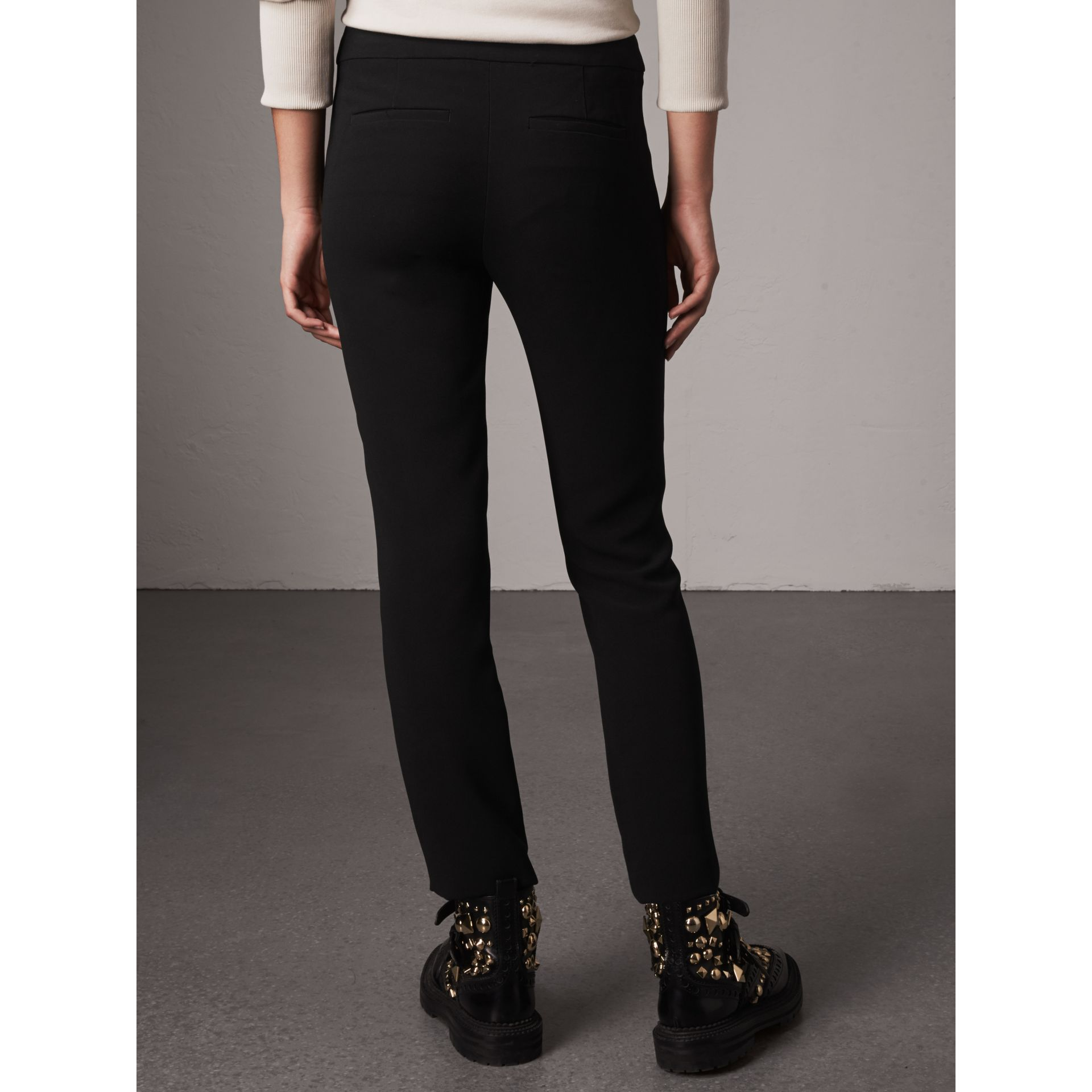 Slim Fit Faille Trousers in Black - Women | Burberry - gallery image 3