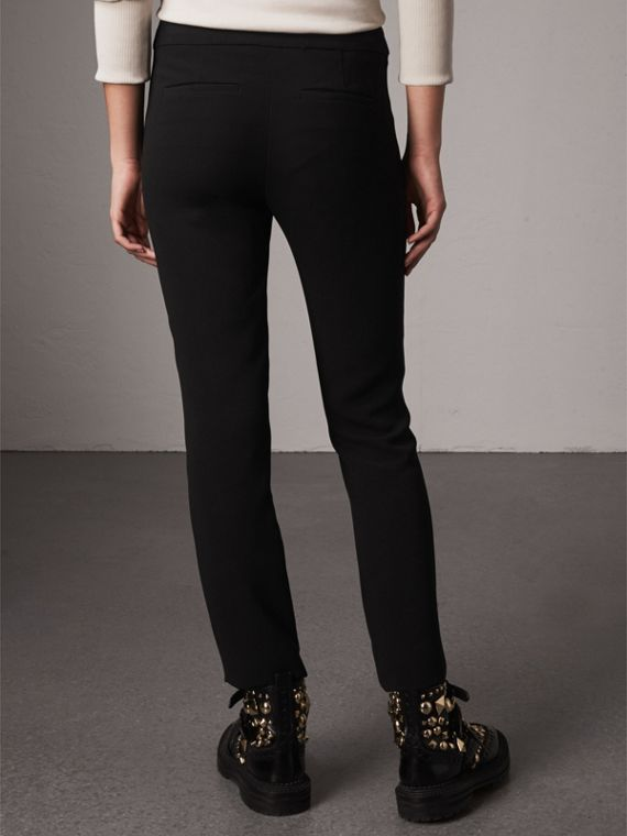 Slim Fit Faille Trousers in Black - Women | Burberry - cell image 2