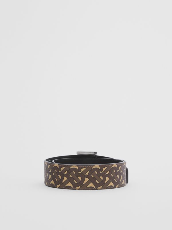 Reversible Monogram Print E-canvas and Leather Belt in Bridle Brown - Men | Burberry United States - cell image 3