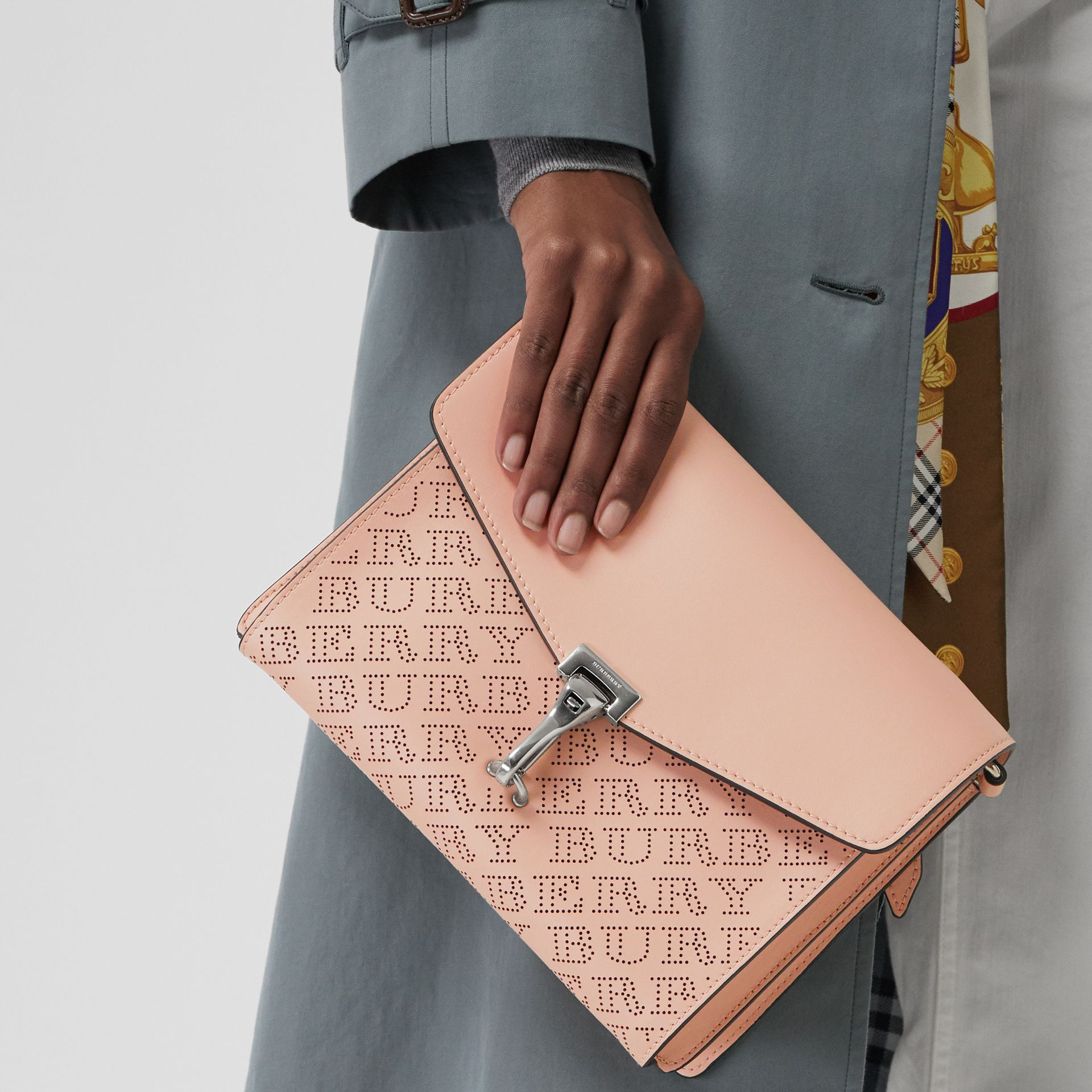 Small Perforated Logo Leather Crossbody Bag in Pale Fawn Pink - Women | Burberry United Kingdom - gallery image 3